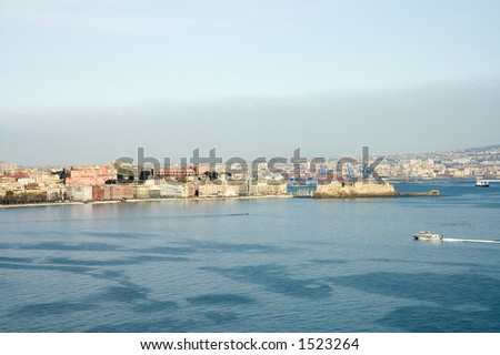 scenic view of castel Dell'Ovo or Egg Castle, bay and city of Naples, Italy - stock photo