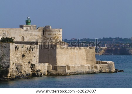 Scenic view of Castello or Maniace castle, Syracuse, Sicily, Italy.