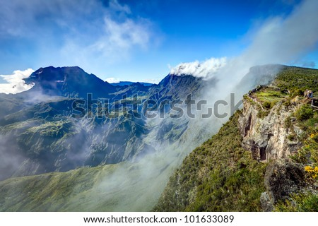 Scenic view of Cirque de Mafate caldera viewed from Maido view point on Reunion Island.