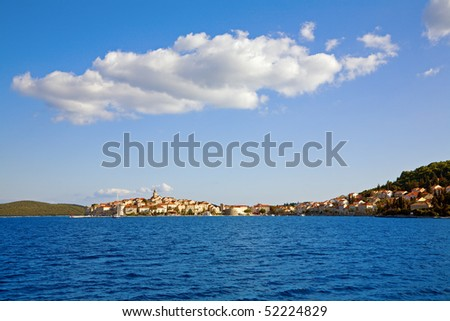 Scenic view of city of Korcula, Croatia - stock photo