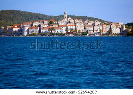 Scenic view of city of Korcula on the island of Korcula in Croatia - stock photo