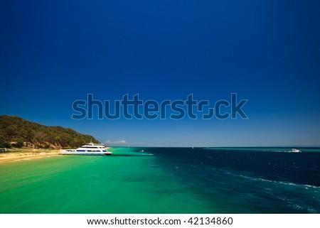 Scenic view of coast of Moreton Island, Australia - stock photo