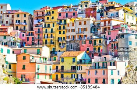 Scenic view of colorful houses in Cinque terre village Riomaggiore/Manarola - stock photo