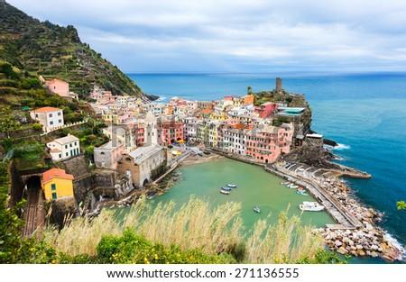 Scenic view of colorful village Vernazza, Cinque Terre, Italy - stock photo