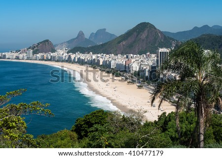 Scenic view of Copacabana beach in Rio de Janeiro - stock photo