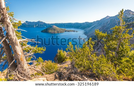 scenic view of Crater lake national park on summer time,Oregon,Usa. - stock photo