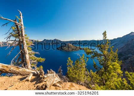 scenic view of Crater lake on summer time. - stock photo