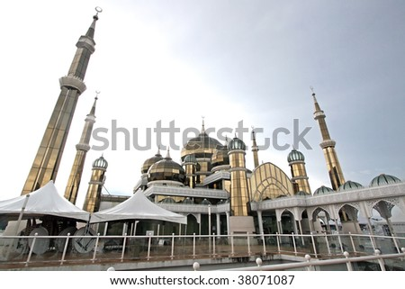 Scenic view of crystal mosque, Malaysia - stock photo