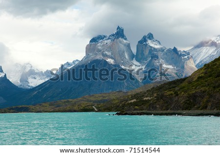 Scenic view of Cuernos del Paine mountains in Torres del Paine national park, Chile - stock photo