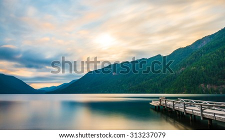 scenic view of  dock in  lake Crescent in Olympic national park,Washington State.Usa - stock photo