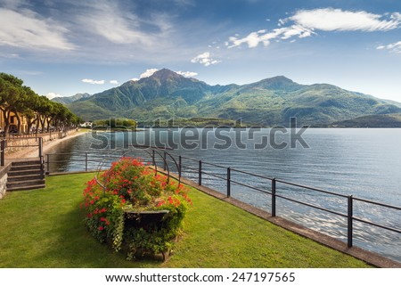 Scenic view of Dongo, Lake Como - stock photo