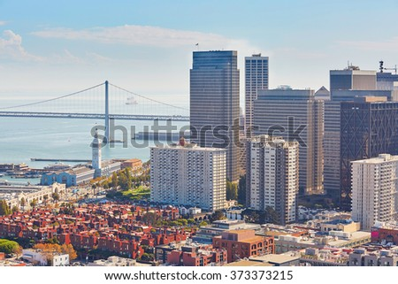 Scenic view of downtown in San Francisco, California, USA - stock photo