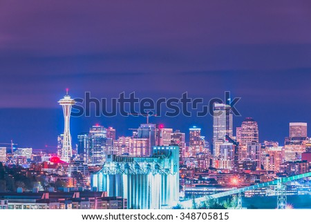 scenic view of downtown Seattle at night time,Washington,USA. - stock photo
