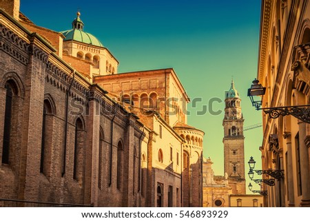 Scenic view of Duomo cathedral and the tower and San Giovanni Evangelista church in Parma, Emilia-Romagna, Italy.