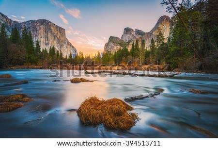 scenic view of El Capital and Cathedral cliff with river foreground,shoot in the morning in spring season,Yosemite National park,California,usa. - stock photo