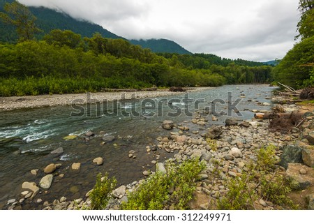scenic view of Elwha river in  beautiful Madison falls area in olympic national park,Wa,Usa - stock photo