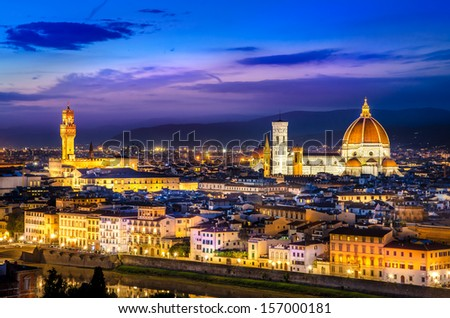 Scenic view of Florence at night from Piazzale Michelangelo, Italy - stock photo