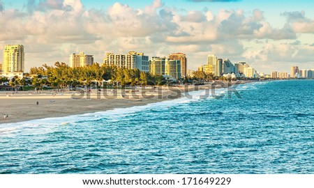 Scenic view of Ft. Lauderdale Beach, Florida - stock photo
