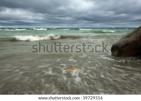 Scenic view of Georgian Bay just before a storm. - stock photo
