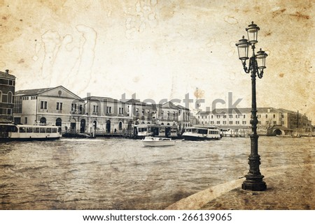 Scenic view of Grand canal from embankment in beautiful Venice, Italy. Old photo effect was applied. - stock photo
