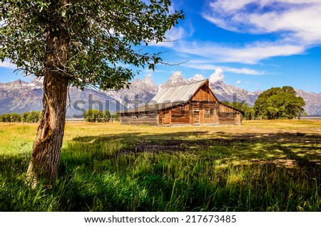 Scenic view of Grand Teton with old wooden farm and tree, Wyoming, USA - stock photo