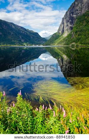 Scenic view of Granvinsvatnet lake in Granvin, Norway - stock photo