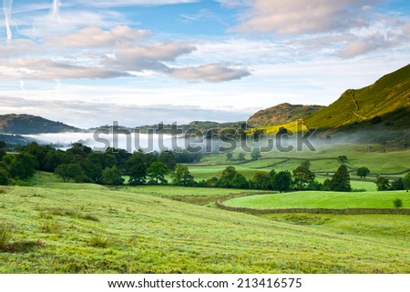 Scenic view of Grasmere, Lake District National Park, Cumbria, England. - stock photo