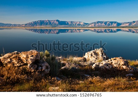 Scenic view of Great Salt Lake from Antelope Island - stock photo