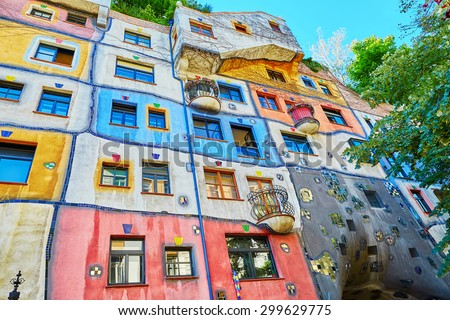 Scenic view of Hundertwasser house in Vienna, Austria - stock photo