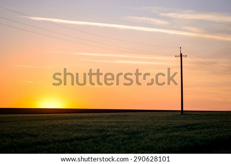 Scenic View of Hydro Poles and Wires Running Alongside Road in Flat Rural Area in Warm Sunrise or Sunset Light, Tranquil Landscape of Country Fields - stock photo