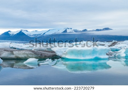 Scenic view of icebergs in Glacier Lagoon, Iceland. - stock photo