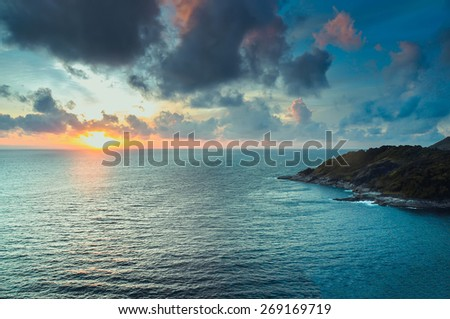 Scenic view of island during sunset Thailand - stock photo