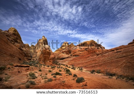 Scenic view of landscape in Valley of Fire State Park, Nevada, USA