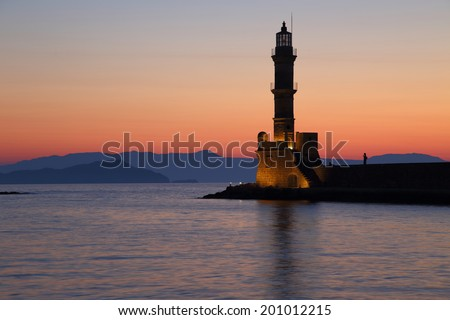 Scenic view of lighthouse in Chania Crete Greece - stock photo