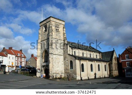 Scenic view of Malton church in historic market town, Ryedale, North Yorkshire, England.