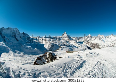 Scenic view of Matterhorn from Gornergrat in Winter, Zermatt, Wallis, Switzerland