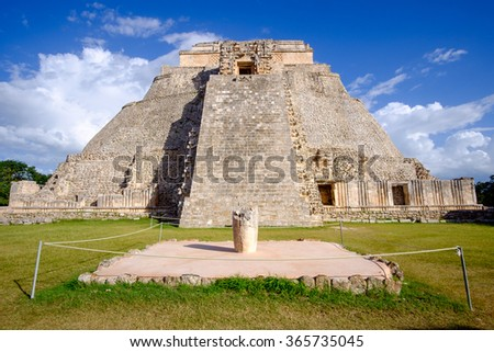 Scenic view of Mayan pyramid in Uxmal, Mexico - stock photo