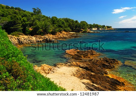 Scenic view of Mediterranean coast of French Riviera - stock photo