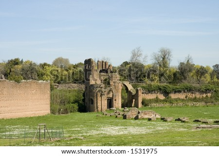 Scenic view of middle ages ruins of circus of Maxentius or of Romulus, Via Appia Antica ,Rome