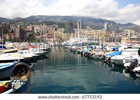 Scenic view of Monaco harbor, Monte Carlo - stock photo
