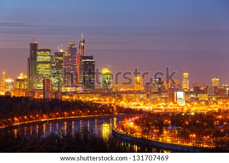 Scenic view of Moscow in the night, Russia - stock photo