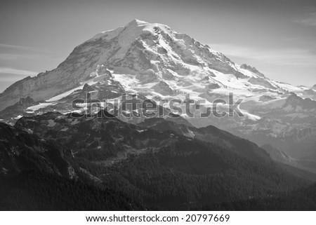 Scenic view of Mount Rainier in Black & White - stock photo