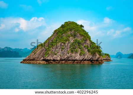 Scenic view of mountain islands in Halong Bay, Vietnam, Southeast Asia - stock photo