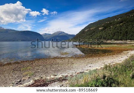 Scenic view of mountain lake at Alesund area (Norway) - stock photo
