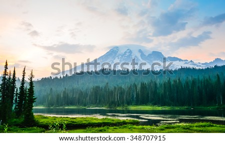 scenic view of mt Rainier at reflection lake area when sunset,Washington,USA. - stock photo