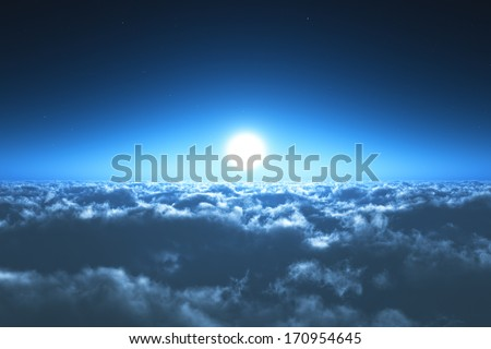Scenic view of night flight above the clouds with full moon and dark blue sky with stars at the midnight - stock photo