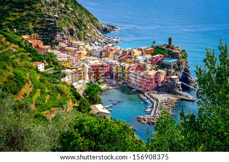 Scenic view of ocean and harbor in colorful village Vernazza, Cinque Terre, Italy - stock photo