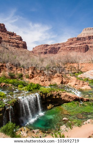 Scenic view of one of many falls around the Havasu Area in the Grand Canyon