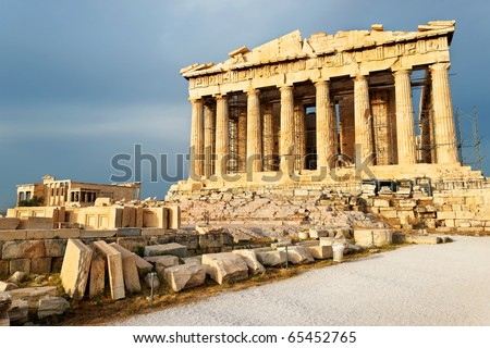 Scenic view of Parthenon Temple, Acropolis, Athens, Greece - stock photo
