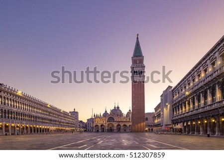 Scenic view of Piazza San Marco in Venice at sunrise, Italy